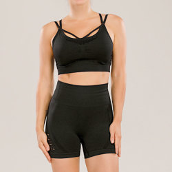 Customized Logo Two Piece Sport Bra Women Seamless Active Wear Short Sets