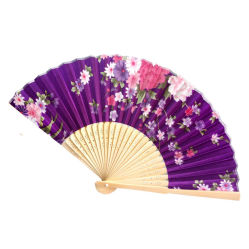 Retro Classical Chinese Fan Folding Bamboo Flower Pattern Lace Hand Fan Decor PE