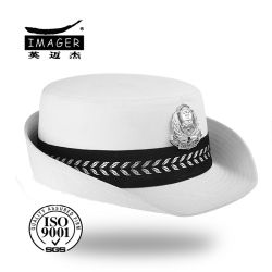 White Bowler Hat with Metal Badge