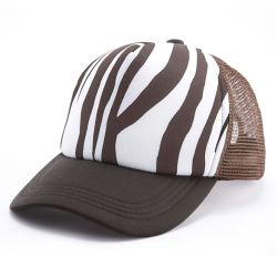 Custom Foam Twill Zebra Pattern Part Mesh Cap