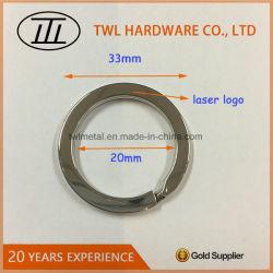 Factory Custom Size and Laser Logo Flat Key Ring