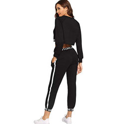 Women's 2 Pieces Sportwear Letter Bands Outfits Crop Sweatshirt and Long Pants Tracksuits Set