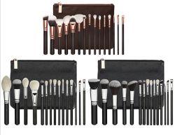 15PCS Rose Gold Ferrule Wooden Handle Makeup Brush Set