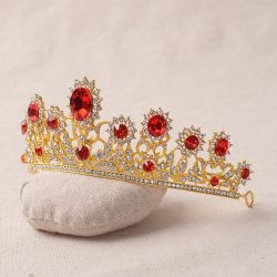 Royal Crystal Wedding Pageant Tiara Headpiece Bridal Crown Veil Golden Hair Jewelry Accessories (CR-01)
