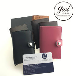 1. Pop up Leather Money Clip Wallet with Card Case for Men