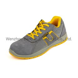Leather Work Sport Safety Shoes with Upper Suede Leather and Mesh Sole PU