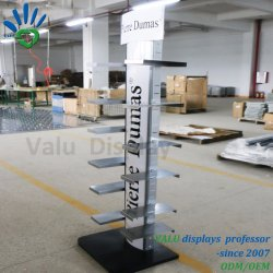 Double Side Shoes Slippers Display Stand Rack with Shoes Tray