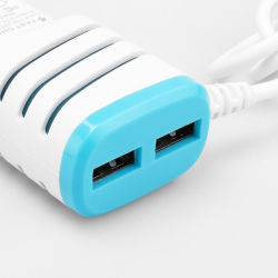 Round Plug New European Regulations Smart Charger/Plug with Two Dual USB Ports for Mobile Phone