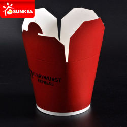 Disposable Chinese Paper Food Pails with Handle