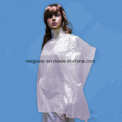 Beauty Salon and SPA Disposable Waterproof PE Hair Cutting Cape
