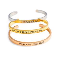 Custom Inspirational Jewelry Fashion Stainless Steel Cuff Bangle Bracelet