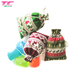 Fashionable Cotton Drawstring Christmas Decoration Candy Gift Bag