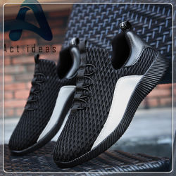 2018 Newest Fashion Black Mesh Men Sports Sneakers Shoes for Outdor Hiking