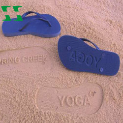 f1d97c1e9 EVA Beach Flip Flops with Die Cut Logo at Bottom Sole