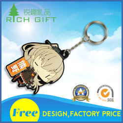 Manufacture Wholesale Custom Fashion 3D Soft Cartoon Rubber PVC Tag Cover Holder Keyholder Keychain for Advertising Promotion Gifts