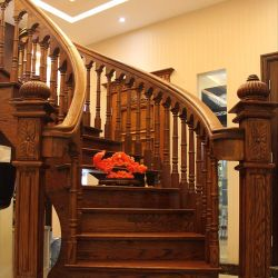 Wood Steps Design Residential Wooden Spiral Stairs (GSP16 010)