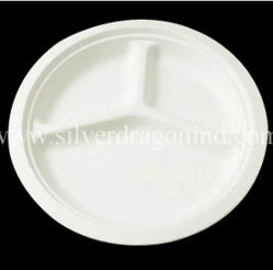 Biodegradable Disposable Sugarcane Bagasse Paper Plate 10 Inch Three Compartments  sc 1 st  Made-in-China.com & China Sugarcane Paper Plate Sugarcane Paper Plate Manufacturers ...