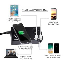 USB QC3.0 Pd Type C Fast Smart 5-10W Wireless Charger for Mobile Phone and Laptop