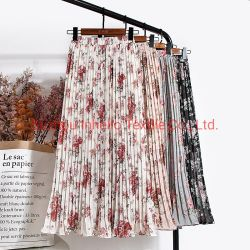 Polyester Pleated Printed Fabric for Ladies Dress