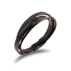 Stainless Steel Leather Jewelry Male Bracelet