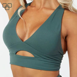 Wholesale Ladies Girls Back Pocket Yoga Bra Tops Custom Made Band Logo Elastic Women Sports Bra