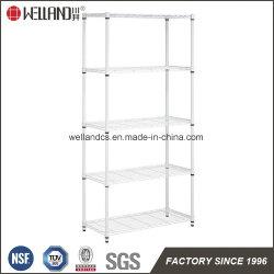 White 5 Tiers Light Duty Adjustable Metal Wire File Shelf Rack for Office & School