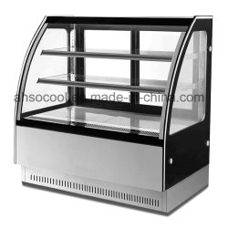 Curved Glass Refrigerated Cake and Bakery Display Case with Marble Base