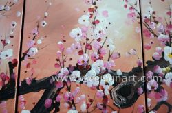 Hand-Painted Abstract Plum Blossom Flower Oil Painting on Canvas Large Modern Wall Art Decoration