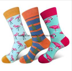b55762b36 Factory Wholesale Custom Cotton Flamingo Cactus Dress Happy High Tube Socks