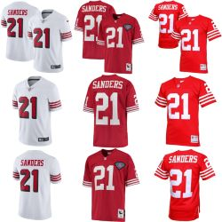 61972a26312 49ers Deion Sanders Red White Limited Throwback NFL Football Jersey
