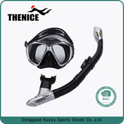 Black Silicone Anti-Leak Full Dry Tempered Glass Swimming Diving Mask Snorkels