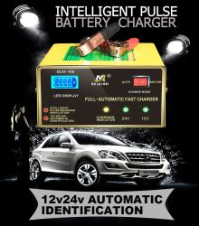 Automatic 12 V/24 V LED Display 5-Stage Intelligent Pulse Repair Car Battery Charger for All Lead Acid Battery 6-200 Ah