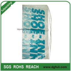 Sports Polybag Branded Promotional Printed Reusable Plastic Shopping Bag with Eyelet Recyclable Drawstring Backpack