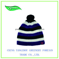 New Blue Striped Winter Beanie Knit Hat