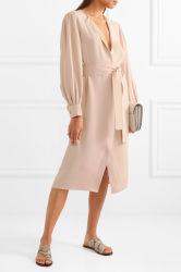 2017 Fashion Pink Silk Crepe Chiffon Women MIDI Dress Wholesale
