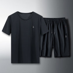 Sports Suit Men's Summer Fitness Short-Sleeved Training Quick-Drying Two-Piece Suit