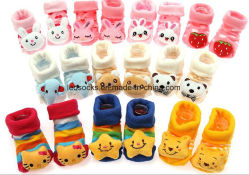 Wholesale Cute Cartoon Rubber Sole Baby Socks Happy Baby Prewalker Shoes