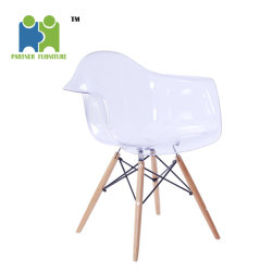 CRYSTAL White PC Seat With Wood Base Dining Room Home Furniture Chair