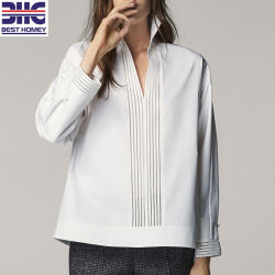 04b11f3f2aff69 Women's White Long Sleeves Cozy Cotton V Neck Blouses Lace Design Fashion  Tops for Lady