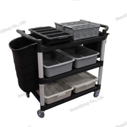Mobile Hotel Restaurant Food Serving Plastic Utility Service Bussing Cart