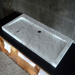 Superbe Italian Carrara White Marble Stone Bathroom Trough Sink