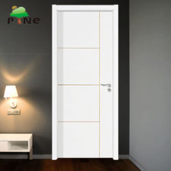 Flush Modern Office Design White Soundproof Primed Internal Pakistan Solid Wood/Wooden Hotel Door with Decorative Strip