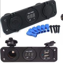 Car Cigarette Lighter Socket Dual USB Adapter Charger Digital Voltmeter
