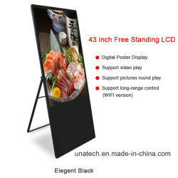 LED Portable Moveable Indoor Media Player Totem Kiosk Promotional Ads 43inch Free Standing Digital Screen LCD Poster Display