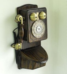 Retro Antique Country Wall Phone - Retail Packaging - Wood