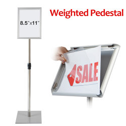 "8.5X11"" Aluminum Poster Stand Snap Open Frame Floor Stand Extra Weight Base"
