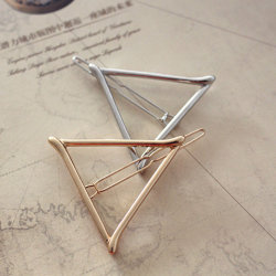New Design Fashion Jewelry Gold/Silver Plated Metal Triangle Hairpins