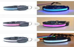 Best Selling Solar LED Light Dog Collar Safety USB Solar Charge Dog Collar for Pet