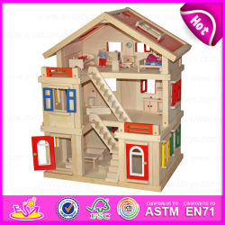 2015 Happy Family Doll House for Kids, DIY Toy Wooden Doll House Toy for Children, Best Seller Handmade Wooden Doll House W06A103