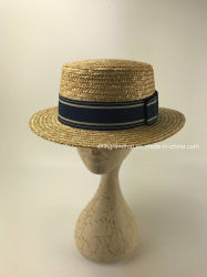 High Quality Natural Wheat Braid Straw Boater Hat bbb658bb32cb